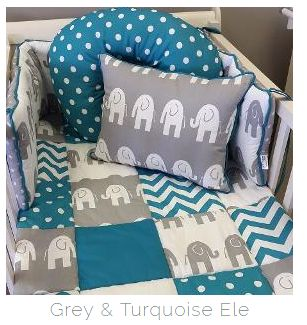 #Turquoise and #Grey are always a great combination for any #BabyBoy, especially this #ElephantTheme bedding!  #BabyBedding #BabyLinen