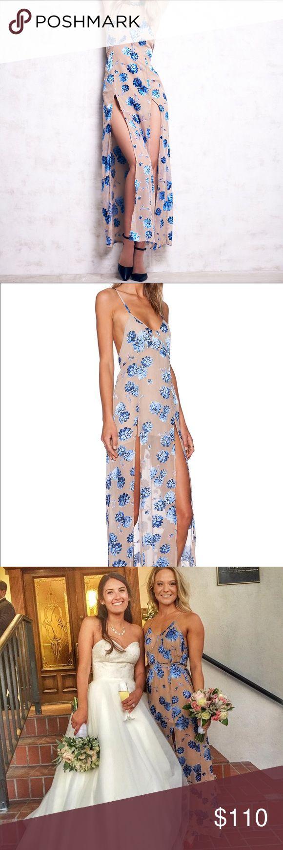 FLL blue floral spit maxi Worn 2! Soooooo pretty! For Love And Lemons Dresses Maxi