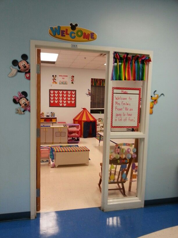 My Mickey Mouse Clubhouse 2 year old classroom. I got the characters that are around the door & window from The Parent Teacher Store.