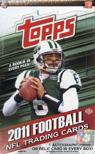 2011 Topps Football Hobby Box by Topps. $52.86. Look for (1) Autograph or Relic card per box! Find Hobby Exclusive In the Name Rookie Letter Patch Cards, Autographed ON-PATCH Rookie Cards, Game-Day Jumbo Relic and Autograph Relic Cards!! Key Rookies: Greg McElroy, Mark Ingram, Ryan Kerrigan, Von Miller, Blaine Gabbert, Ricky Stanzi, Jake Locker, Marcell Dareus, Ryan Mallett, Andy Dalton, Cam Newton, Julio Jones, Cameron Jordan, Colin Kaepernick, Nick Fairley, Christian Pon...