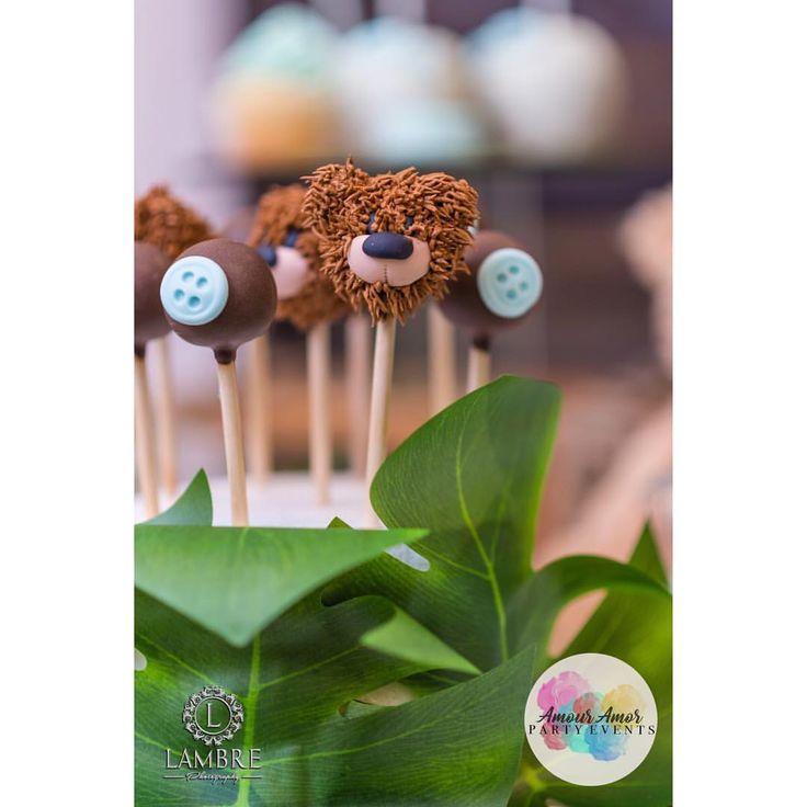 Rustic Garden Teddy Bear Cake Pops For Baby Shower - Instagram: AmourAmorPartyEvents