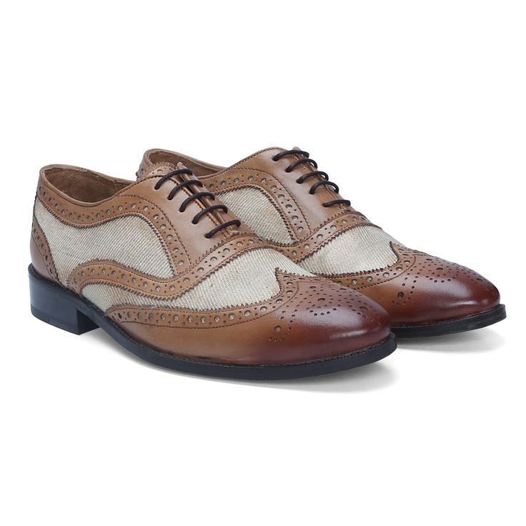 Buy Brune Hand Finished Tan Leather / Denim Formal Brogue Shoes Online at Best Price @ #voganow