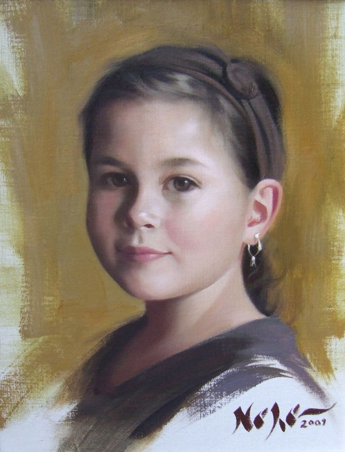 "Painting by Brian Neher, Portrait of Ava, 10"" x 8"", Oil on Linen www.BrianNeher.com"