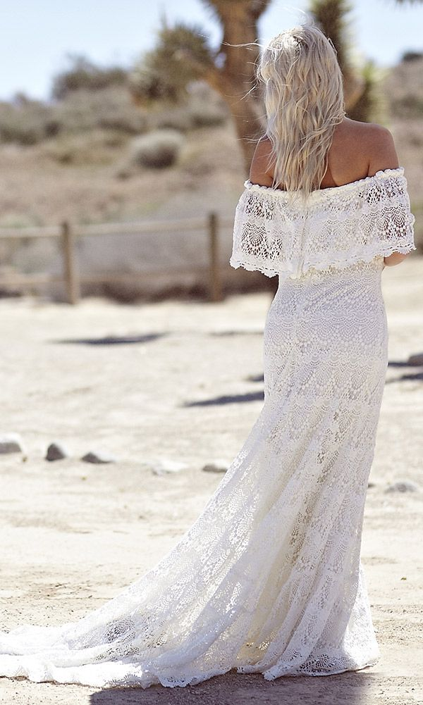 "Off the Shoulder Lace Bohemian Wedding Dress - ""Camille"" by Daughters of Simone"