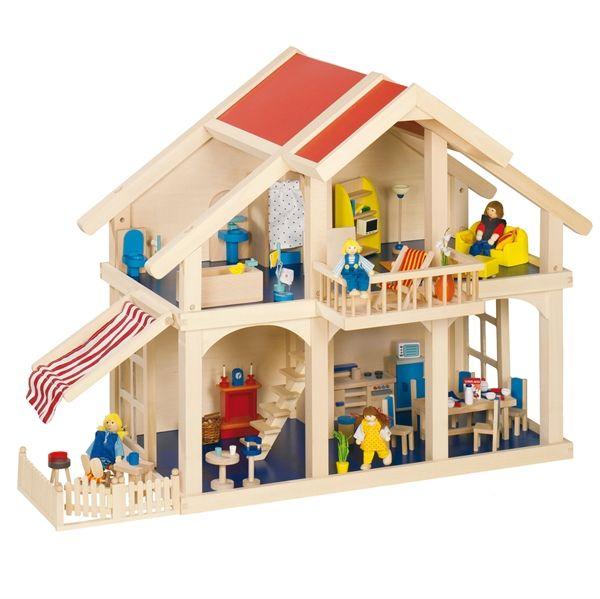 """Wooden dollhouse. Le case delle bambole in legno modello """"tedesco"""" rappresentano solo l'interno della casa, non hanno le pareti esterne. Queste case delle bambole sono giocabili su tre lati: vi possono quindi giocare più bambini contemporaneamente. Ogni bambino inoltre, girando attorno alla casa, può vedere stanze e scene in prospettive sempre differenti, sviluppando l'intelligenza spaziale. Acquistabile su http://www.giochiecologici.it/p/202/casa-bambole-con-terrazzo-e-veranda"""