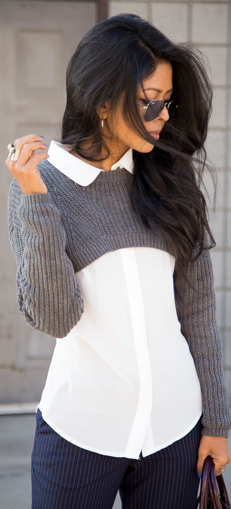 ultra cropped sweater over white button down