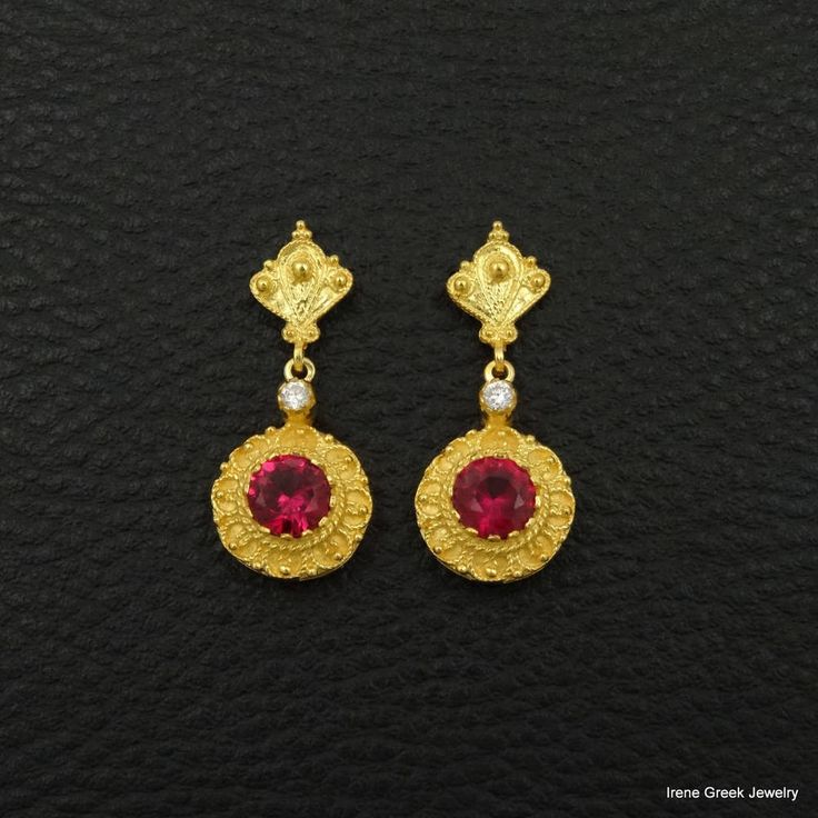 RUBY CZ EARRINGS ETRUSCAN STYLE 925 STERLING SILVER 22K GOLD PLATED GREEK ART  #IreneGreekJewelry #DropDangle