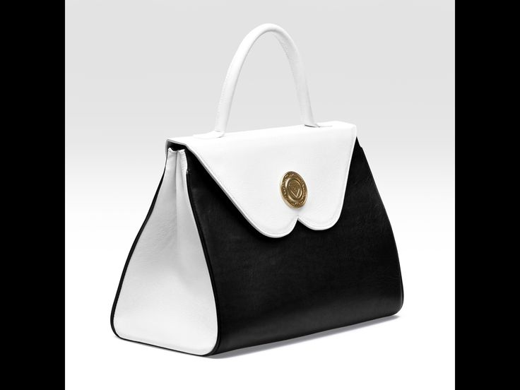 The unique B-shaped flap handbag-side front