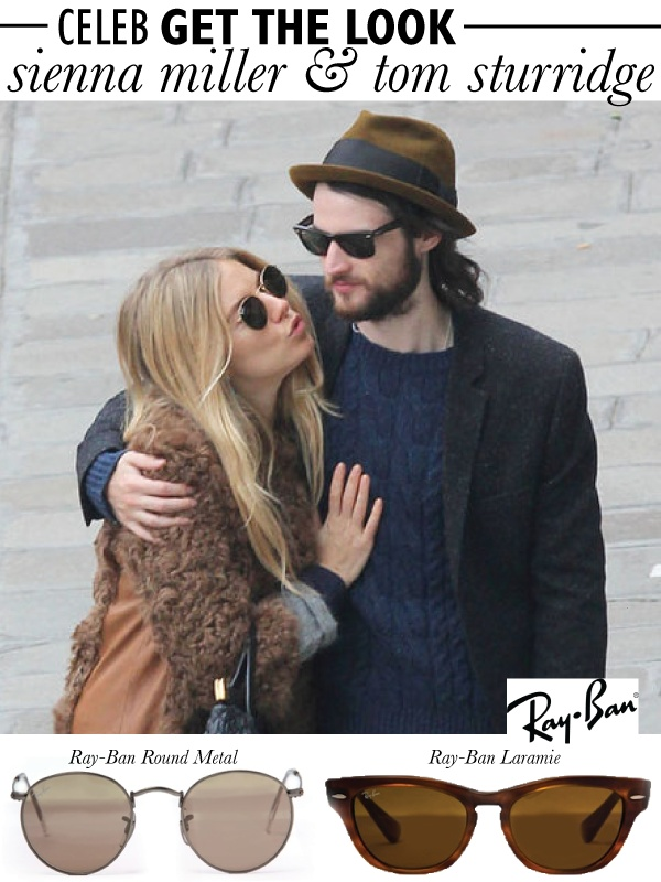 CELEB GET THE LOOK: SIENNA MILLER & TOM STURRIDGE   Ray-Ban is renowned for their stylishly unique and timeless eyewear - No wonder celebrities and trendsetters adore the brand. Don't miss out on a chance to grab this pair of Ray-Ban Laramie wayfarers on the Luxury Sunglasses Flash SALE now > http://www.diligo.co.za/live-sales.html