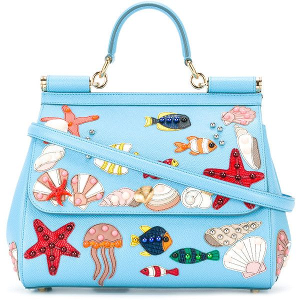 Dolce & Gabbana Sea Embellished Sicily Tote (£2,865) ❤ liked on Polyvore featuring bags, handbags, tote bags, top handle purse, dolce gabbana handbags, tote purses, light blue tote and blue handbags