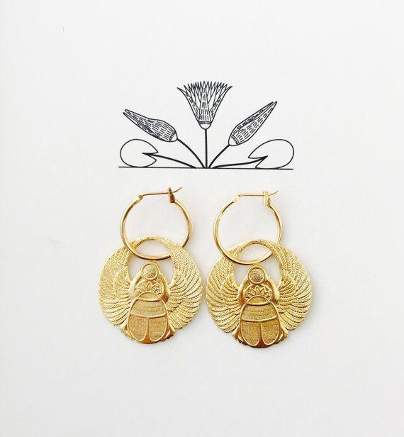 Creolen Gold ägyptische Göttin Ohrringe geflügelte von RONIMO