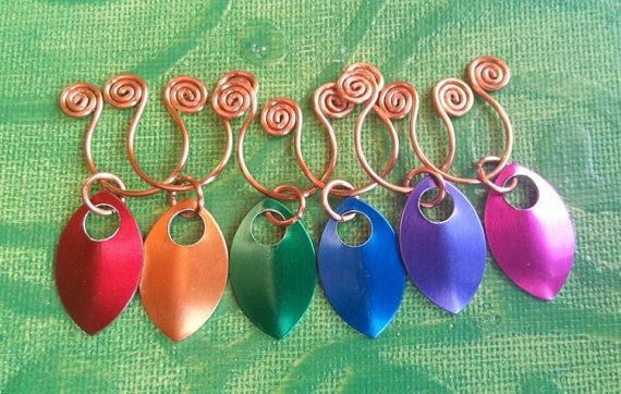 handmade copper wire wine glass charms in rainbow by terramor