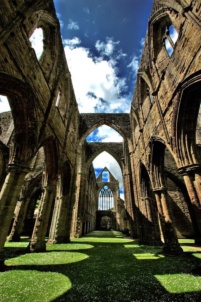 """Tintern Abbey in Wales by Serge Freeman   ((Inspired poem by Alfred, Lord Tennyson's poem """"Tears, Idle Tears"""", and and more than one painting by J. M. W. Turner...whom I love btw))  <3"""
