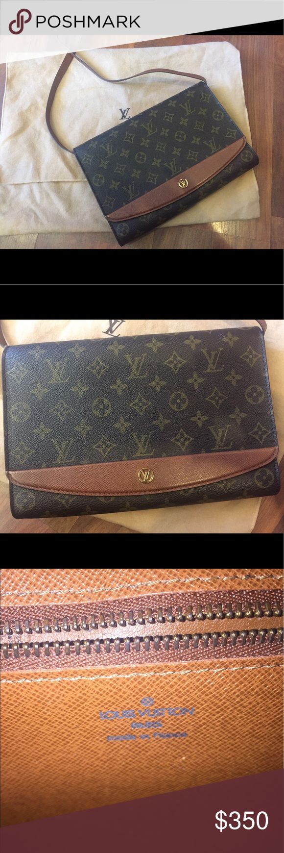 Authentic Louis Vuitton Shoulder Bag Authentic Vintage Louis Vuitton Leather Shoulder Bag, with dust bag, purchased at Neiman Marcus. Inside pocket has wear, other than that it is excellent condition. Pocket can be restored through Louis Vuitton, if you wish. $350 firm, no discounts. Louis Vuitton Bags Shoulder Bags