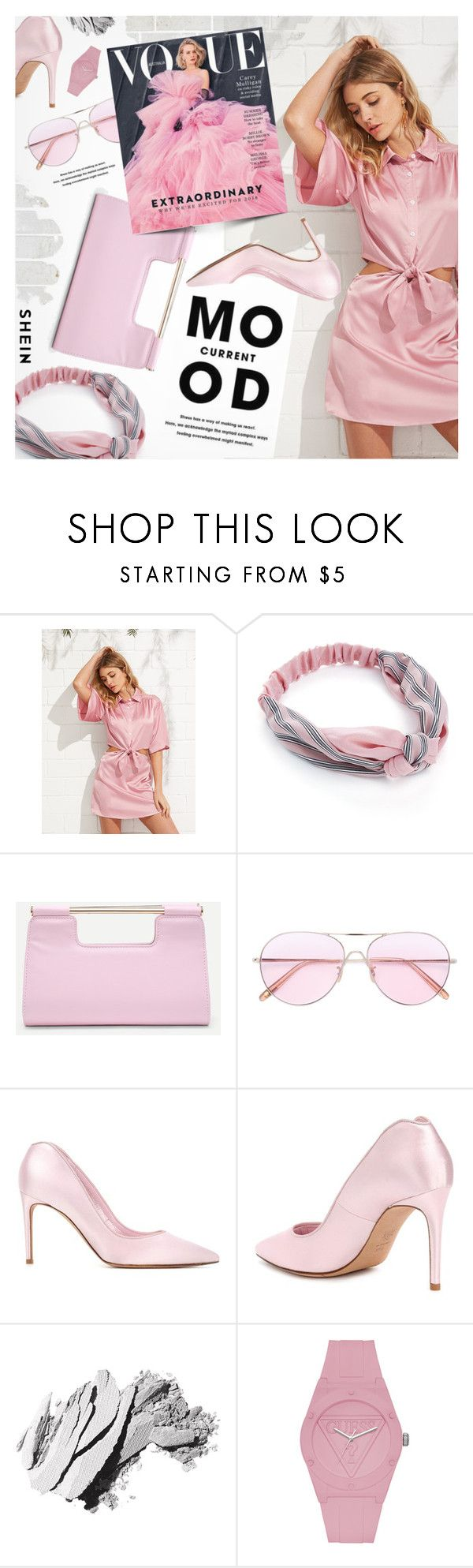 Pink by pokadoll on Polyvore featuring Alexander McQueen, GUESS, Oliver Peoples, Bobbi Brown Cosmetics and Current Mood