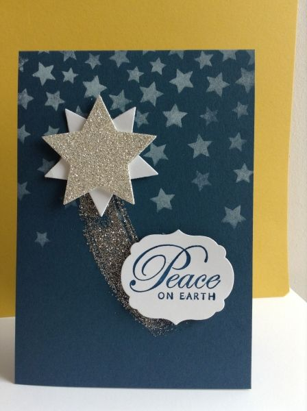 Peace on Earth by Sheila Dawson, New star dies, glimmer over white with the new star mask. Work of Art swoosh glittered finished with a retire favourite message.
