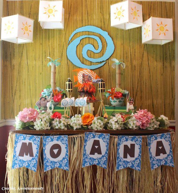 Ideas caseras para organizar cumpleaños infantiles de Vaiana, la nueva princesa Disney. Fiestas infantiles temáticas de Disney. Princesa Vaiana.