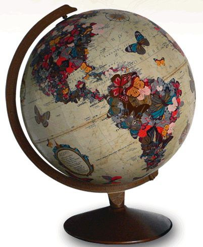 Just seeing this sparked an idea. It would be fun to decoupage an old globe with bits of things we love.... or photos of family and friends, then seal with clear poly.