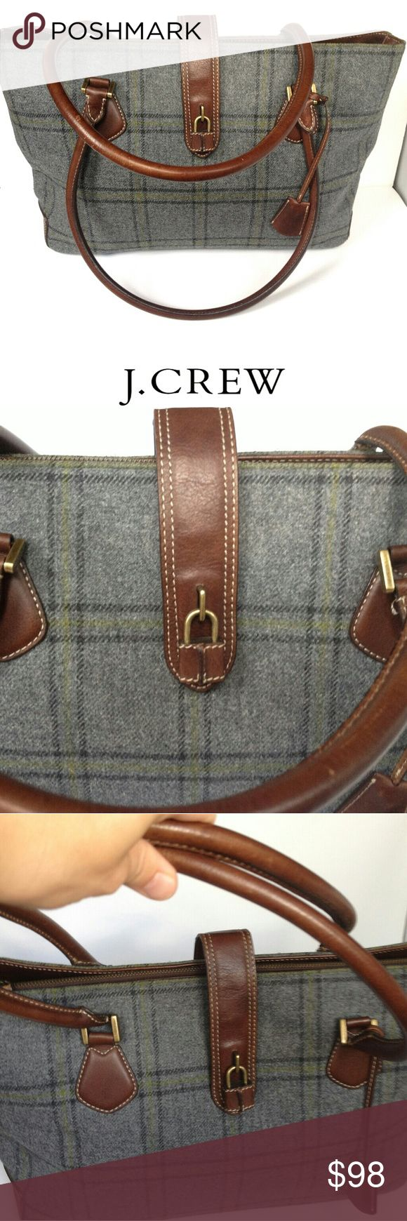 """J Crew Bag/Handbag/Purse Leather+Wool Tote Condition: pre-owned like New. Material: 100% wool+100% leather. Measurements: length 15"""", width 11"""", depth 4"""", strap drop 10"""". Smoke free+pet free. Color: grey check+ brown leather. J. Crew Bags Totes"""