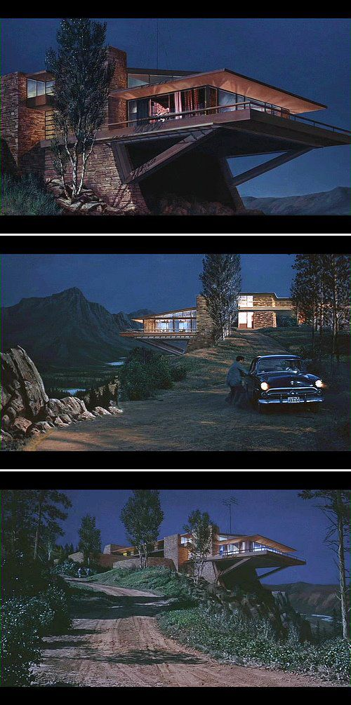 The Vandamm House from North by Northwest (1959, Alfred Hitchcock), built in the style of Frank Lloyd Wright in Culver City by MGM set designers. Production Design Robert Boyle. Art Direction William Horning& Merrill Pye. Set Decoration Henry Grace, Frank McKelvy.