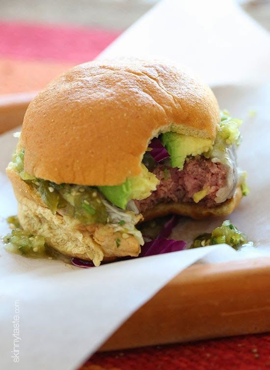 These Salsa Verde burgers are lean with a mean, green kick topped with pepper jack cheese, salsa verde and avocado