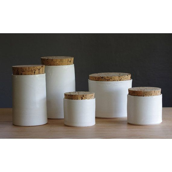 set of 5 porcelain containers. white porcelain by vitrifiedstudio, $225.00