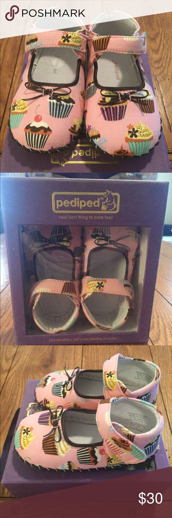 New in Box Pediped Morgan Cupcake Ballet Flats Sweet little pink cupcake flats from Pediped. They are size 18-24 months and new in box. Adorable bow on the toe. pediped Shoes Baby & Walker