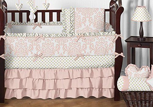 Blush Pink, Gold and White Amelia Baby Bedding 9pc Girls Crib Set by Sweet Jojo Designs for a Newborn Baby Girl, http://www.amazon.com/dp/B01EM4TGBS/ref=cm_sw_r_pi_awdm_PGxixb07BPMAE
