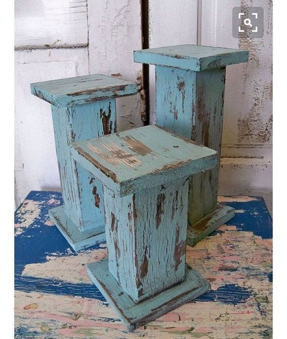 SET of 3- Shabby Chic Distressed Pillar Candle Holders | Wooden Columns | Fixer Upper Decor | HGTV | Mothers Day | Wedding | Gift