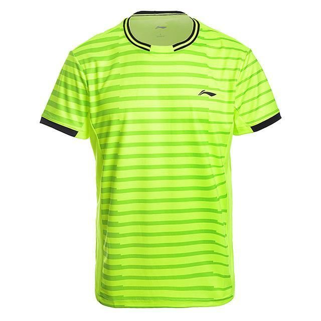Li-Ning Men's Badminton Shirts AT DRY Breathable Regular Fit Sports T-Shirts LiNing Tee AAYM143