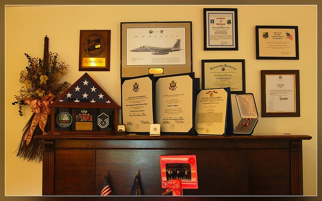 """After 27 years of military service, my wife received quite a few very nice awards and certificates at the ceremony. Dubbed affectionately, this is the """"I love me wall"""""""