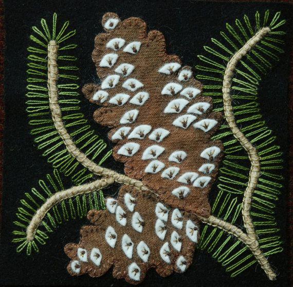 Applique laine MOTIF BOM et/ou KIT «Cocottes» 6 x 6 bloc 1 de laine 24 «quatre saisons de fleurs» couette lit chemin mural feutrée laine