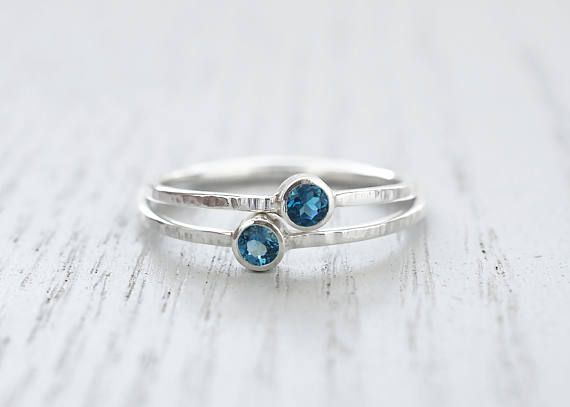 London Blue Topaz ring Minimalist ring Dainty ring Delicate