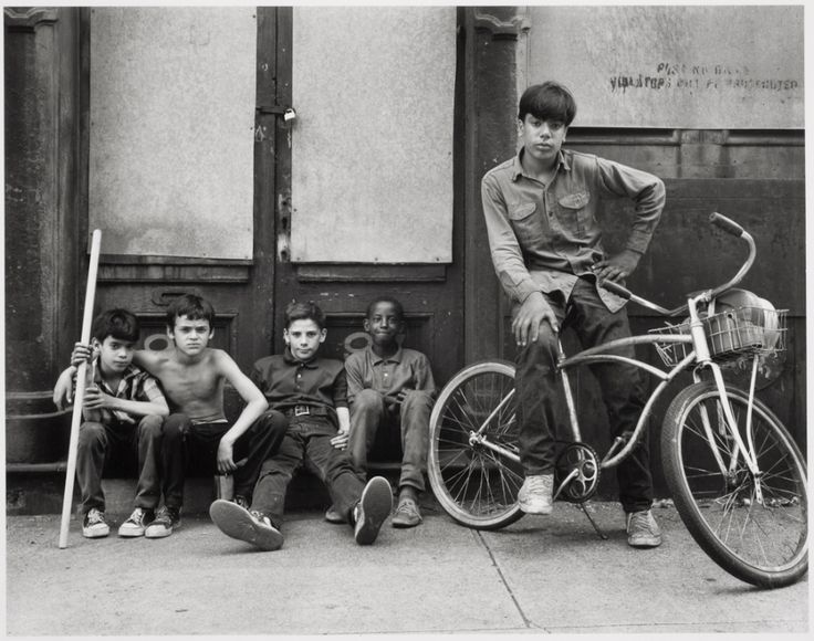 Danny Lyon, Beekman Street, Sunday morning; Ginco, Tonto, Frankie, John Jr., and Nelson, after exploring the buildings, 1967