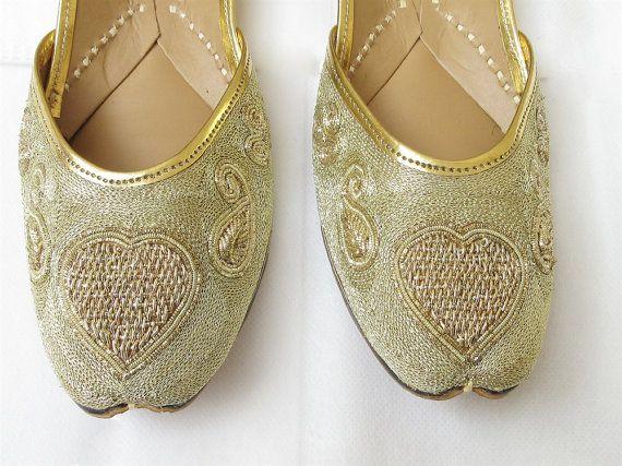 Femmes or rose plat coeur chaussures/or coeur par Beauteshoppe