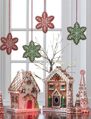 "Image Gallery > RAZ 12.5"" White Gingerbread House Cookie Confections - Trendy Tree"