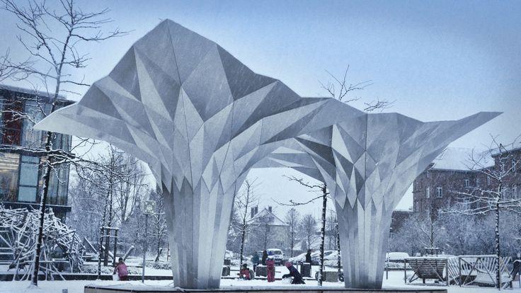 Origami Pavilion Creates Shelter with 8 Folded Aluminum Sheets