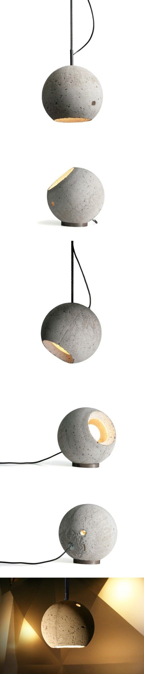 Bola de cemento que se puede colocar tanto en la mesa, como en el techo, como colgante, etc
