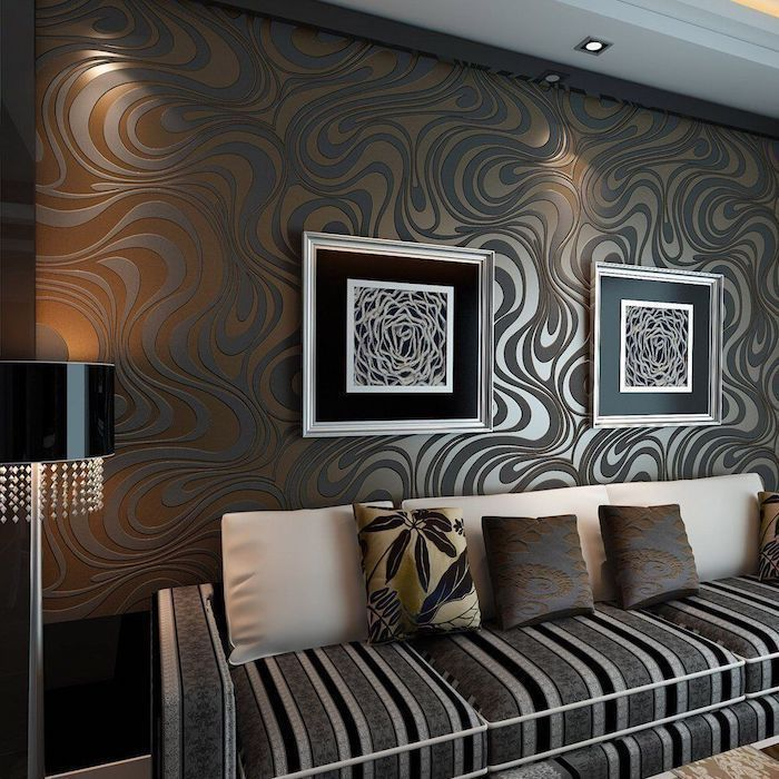 Black Brown Wall Pattern Black White Paintings Accent Wall Colors Grey White Black Sofa Accent Walls In Living Room Accent Wall Living Room Decor Inspiration