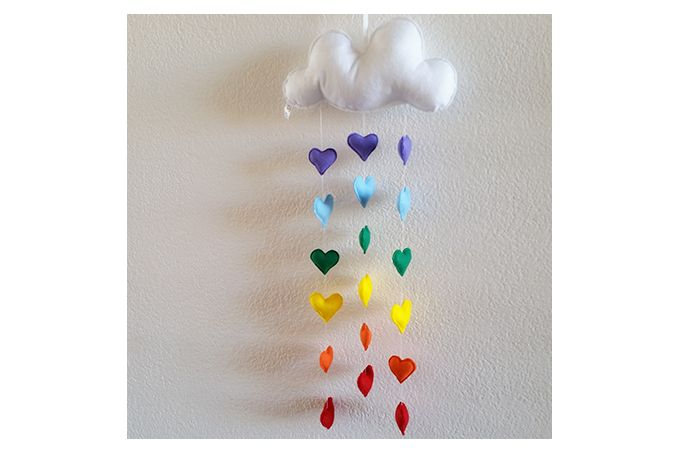 The Rainbow Cloud Mobile has 19 pieces which comprises of: A cloud and hearts. There is no colour choice for this mobile, colours are as per the image.