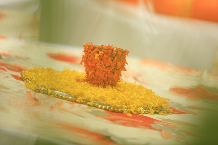 Indian mehendi centre piece. Marigold (genda) flowers.