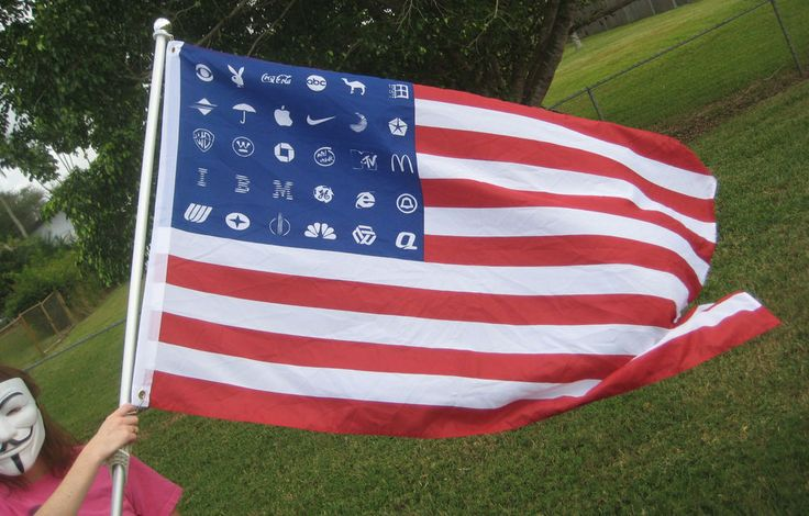 Corporate America American Flag 5'x3' OCCUPY Wall Street OWS ANON