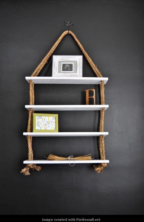 DIY HOME DECOR AND INTERIOR: DIY Rope shelves; but with dark shelves