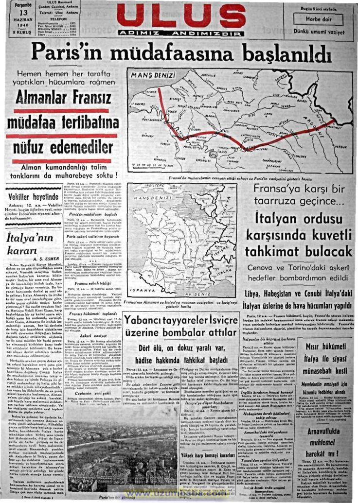 ulus gazetesi 13 haziran 1940