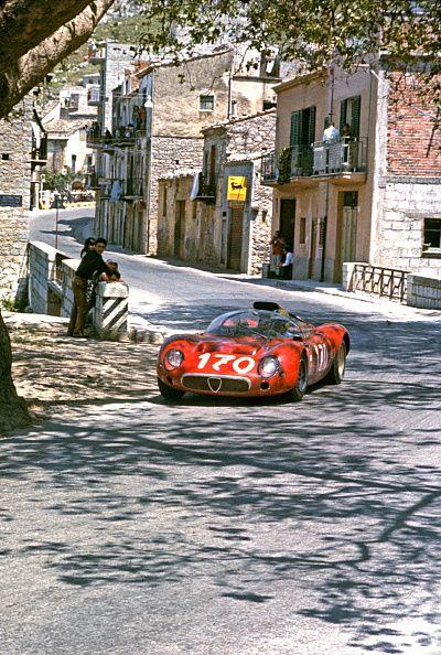 Andrea de Adamich and Jean Rolland's Alfa Romeo T33 racing in the 1967 Targa Florio in Sicily.