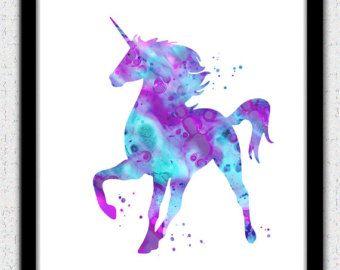 Unicorn afdrukken de Eenhoorn aquarel print unicorn kunst