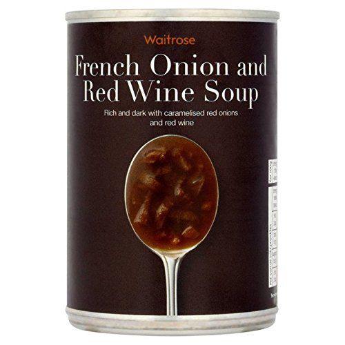 French Onion & Red Wine Soup Waitrose 400g: Convient pour le lait VegetariansContains Emballage Info: Peut étiqueter et recyclable.…