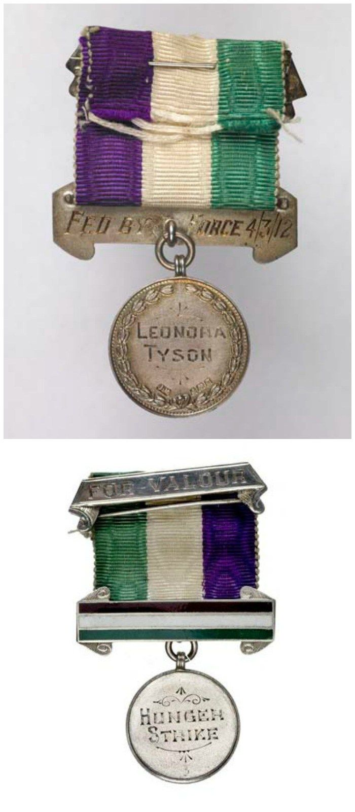 This Medal for Valor was presented to suffragette Leonora Tyson, in honor of a hunger strike for the cause that ended in a force feeding in 1912.