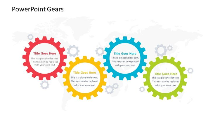 PowerPoint Gears Get the gears turning and the cogs working with the PowerPoint Gears. This PowerPoint slide allows you to break down four parts of a project or other business...