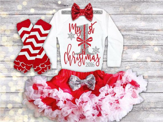 Baby Girl 1st Christmas Outfit, Baby Christmas Dress, Baby's First Christmas Onesie